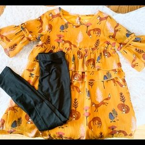 Toddler 4t fox dress set.